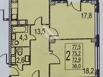 2-к. квартира, 80 м², 14/21 эт.