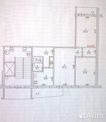 Продается трехкомнатная квартира за 2 590 000 рублей. г Саранск, ул Воинова, д 30.