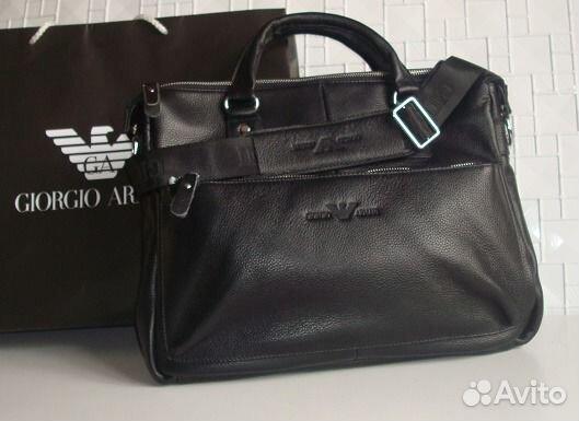 6f5b10c4c671 Мужская кожаная сумка Armani A4 Lux купить в Москве на Avito ...