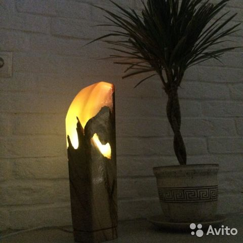 Lamp night light made of epoxy resin and elm