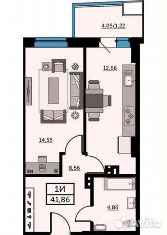 1-к квартира, 41.5 м², 15/26 эт. купить 1