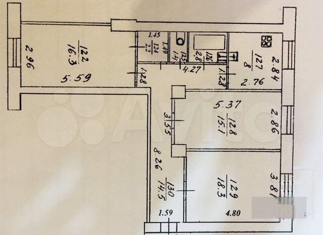 3-к. квартира, 78м², 2/6эт.